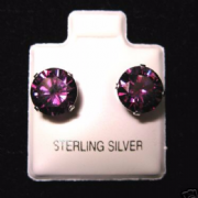 8mm Cubic Zirconia Amethyst February Birthstone Sterling Silver Stud Earrings
